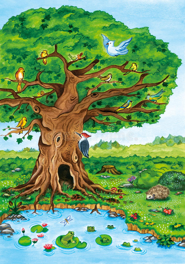 Ejemplo de la acuarela del paisaje del árbol forestal libre illustration