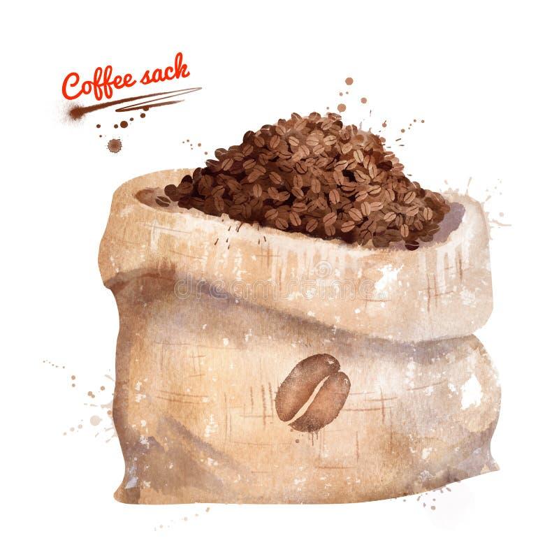 Ejemplo de la acuarela del saco del café ilustración del vector