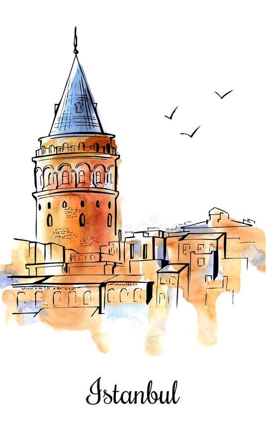 Ejemplo de la acuarela del vector con la torre de Galata stock de ilustración