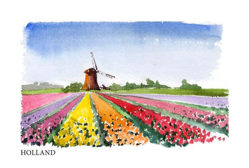 Ejemplo de la acuarela del vector de Holanda stock de ilustración
