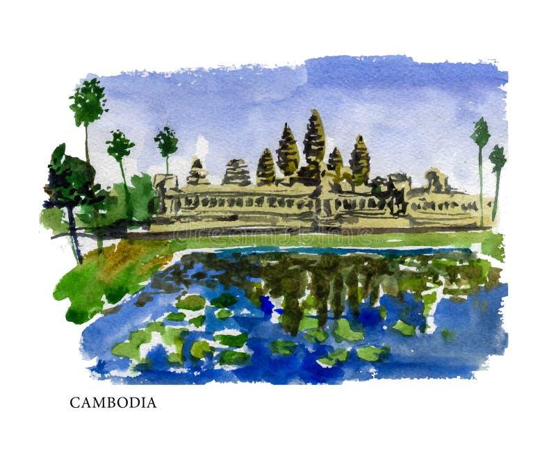 Ejemplo de la acuarela del vector de los sightseeings de Camboya stock de ilustración