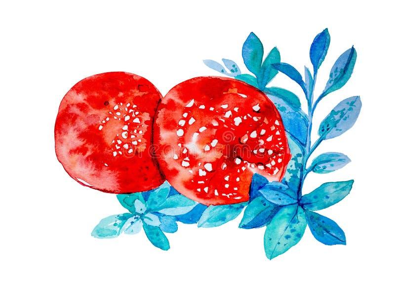 Ejemplo de la acuarela de dos setas venenosas de la seta entre las hojas Aislado en el fondo blanco stock de ilustración