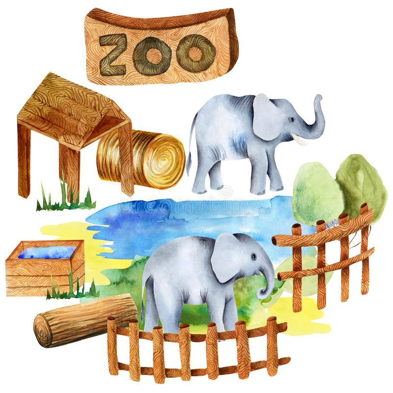 Ejemplo de la acuarela de elefantes en el parque zoológico