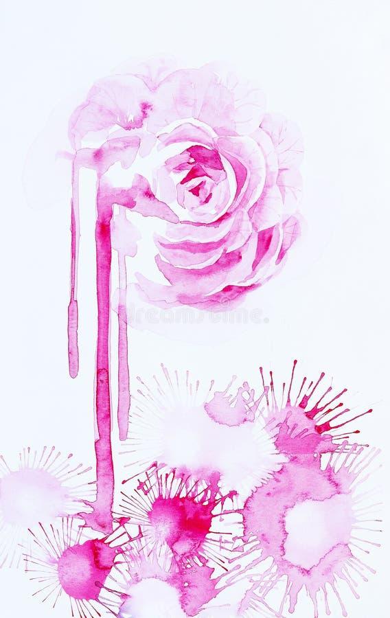Ejemplo de la acuarela de la flor color de rosa y de las flores rosadas abstractas de la gota stock de ilustración