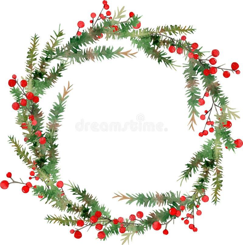 Ejemplo de la acuarela de la guirnalda de la Feliz Navidad, de bayas rojas y de ramas de árbol verdes stock de ilustración
