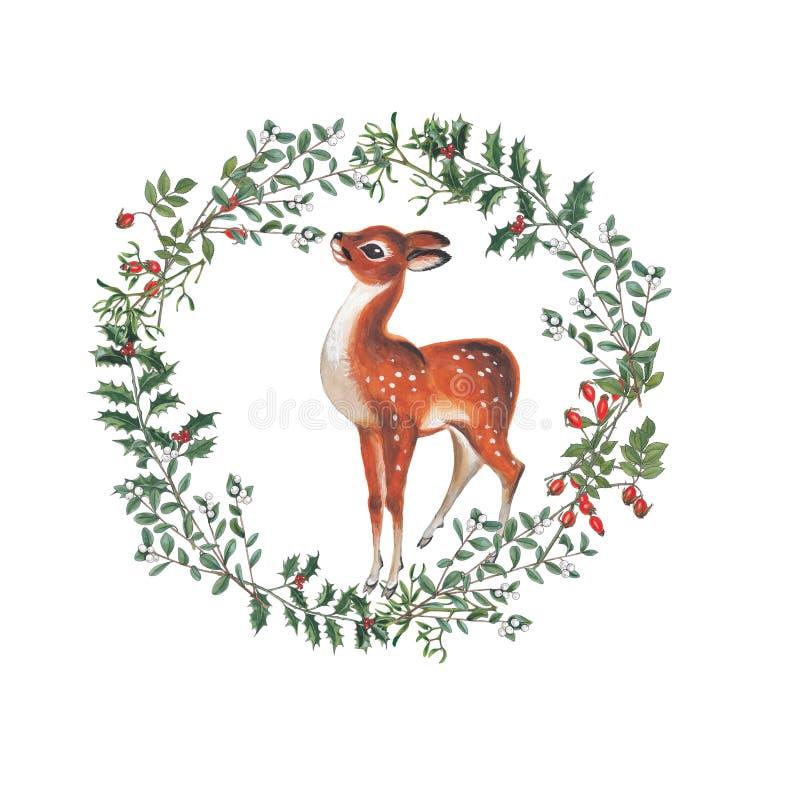 Ejemplo de la acuarela de la guirnalda de la Navidad con los ciervos libre illustration