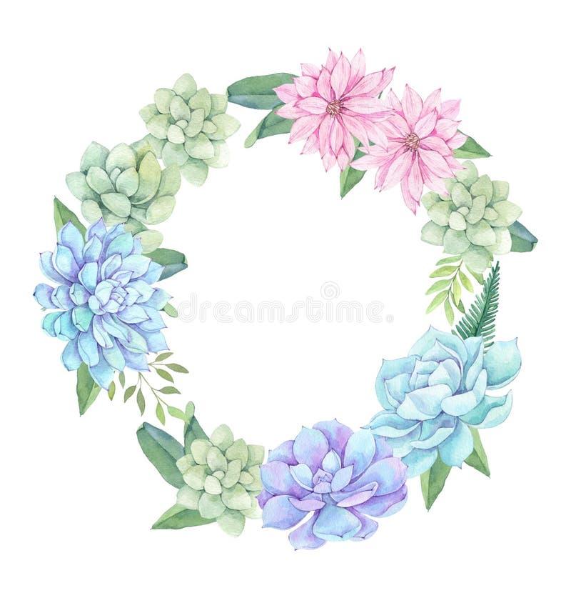 Ejemplo de la acuarela - guirnalda de succulents, de flores y del leav libre illustration
