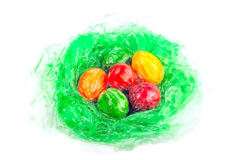 Ejemplo de la acuarela de la jerarquía de pascua con los huevos y el fondo blanco stock de ilustración