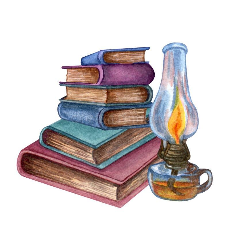 Ejemplo de la acuarela de libros viejos Libros cerrados exhaustos de la mano original y lámpara viejos del vintage isilated en bl stock de ilustración