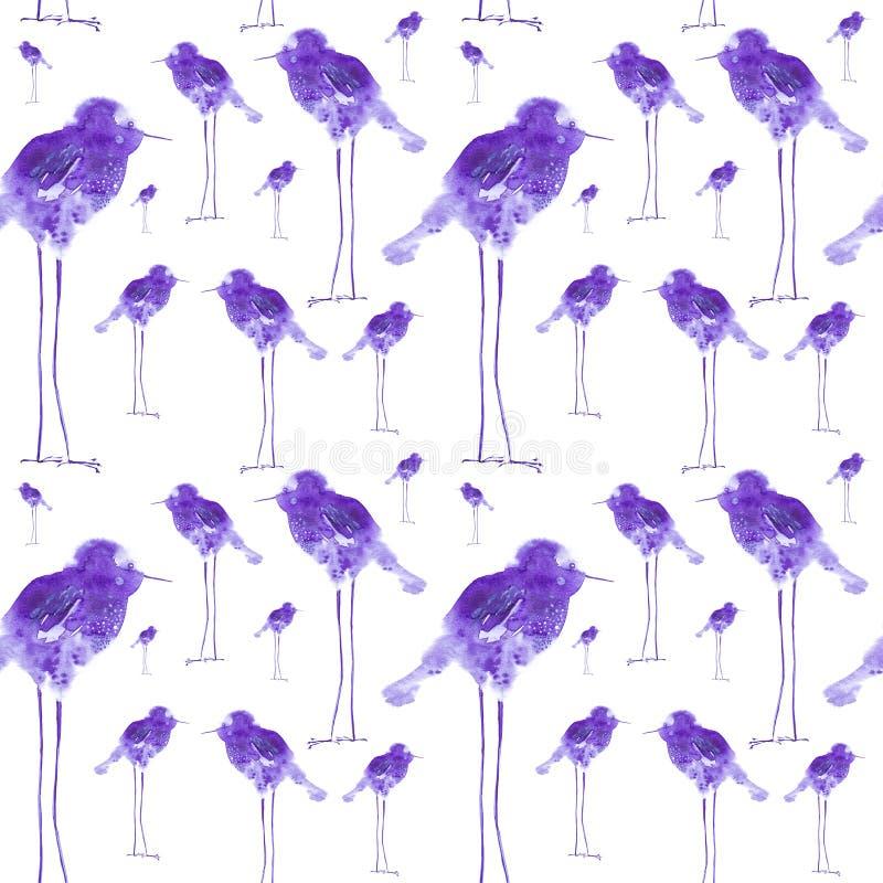 Ejemplo de la acuarela de los descensos abstractos del pájaro en las piernas largas, infantil Impresión, elementos del diseño Ais ilustración del vector