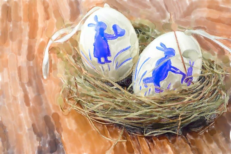 Ejemplo de la acuarela de los huevos de Pascua blancos con la decoración del conejo en jerarquía libre illustration