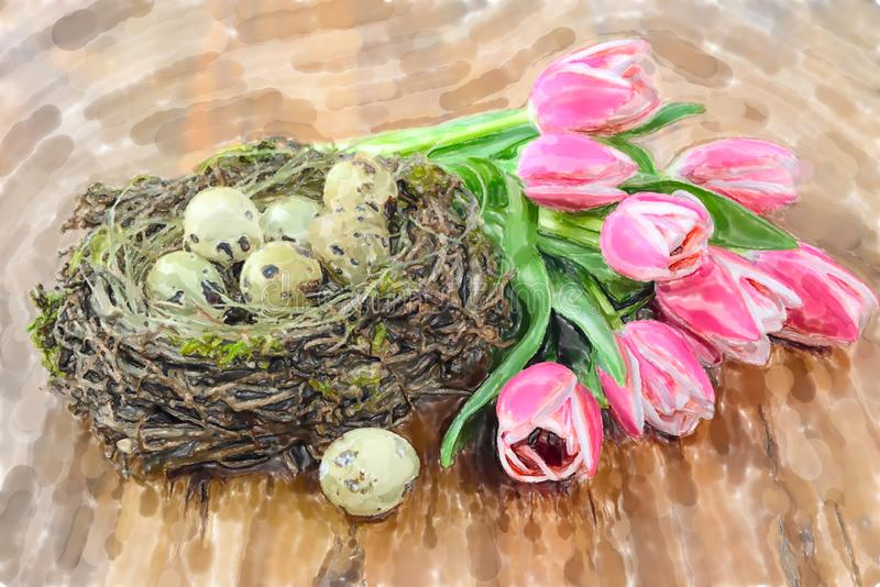 Ejemplo de la acuarela de los huevos de Pascua de las codornices en jerarquía con el manojo de fondo de madera de los tulipanes d stock de ilustración