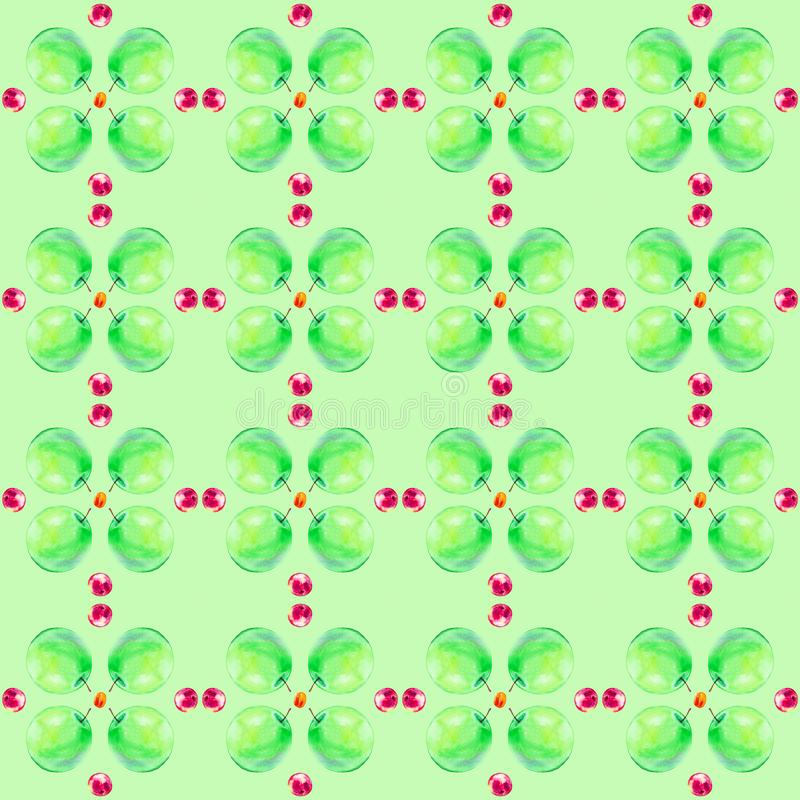 Ejemplo de la acuarela de manzanas frescas y de melocotones aislados en un fondo verde Modelo inconsútil ilustración del vector