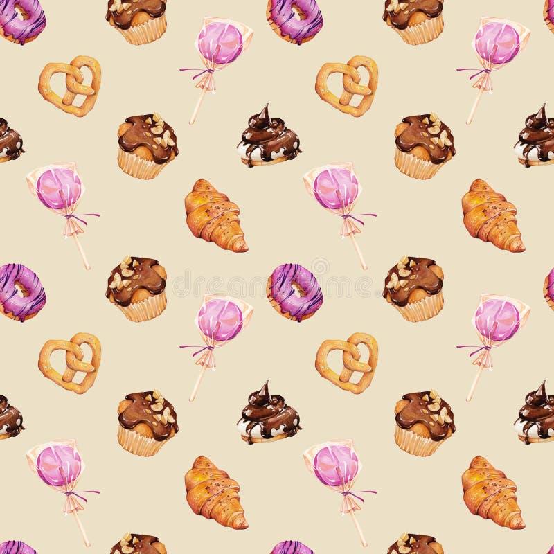 Ejemplo de la acuarela de pasteleses y dulces stock de ilustración