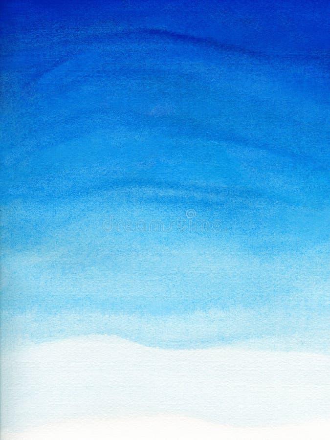 Ejemplo de la acuarela de la pendiente del cielo azul con la nube Fondo natural artístico del extracto de la pintura imágenes de archivo libres de regalías