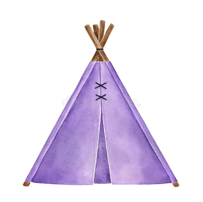 Ejemplo de la acuarela de poca tienda de la tienda de los indios norteamericanos de la tela ilustración del vector