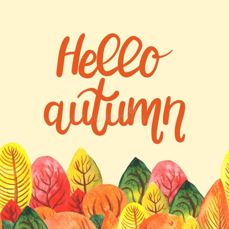 Ejemplo de la acuarela de poner letras a otoño del hola con el bosque del otoño stock de ilustración
