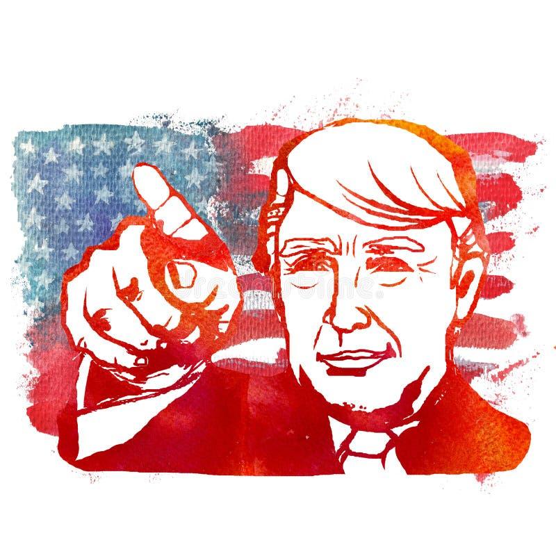 Ejemplo de la acuarela que muestra a Donald Trump republicano ilustración del vector