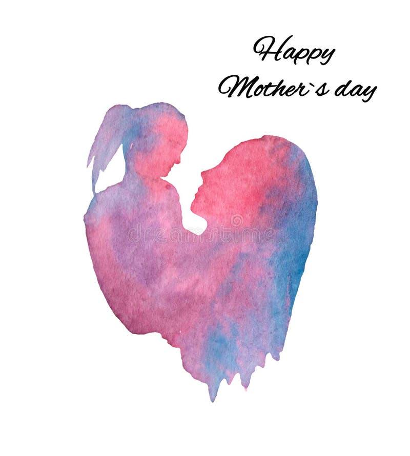 Ejemplo de la acuarela, silueta de la madre e hija, postal del día de madres libre illustration