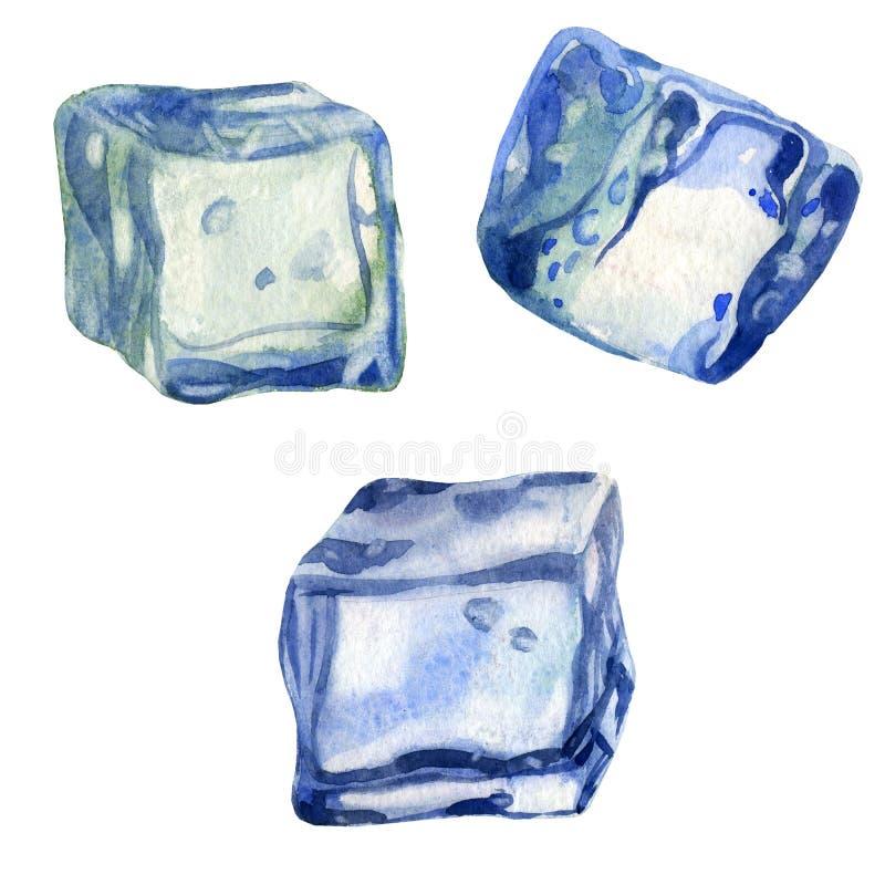 Ejemplo de la acuarela, sistema La imagen del hielo Cubos de hielo para las bebidas, cócteles foto de archivo libre de regalías