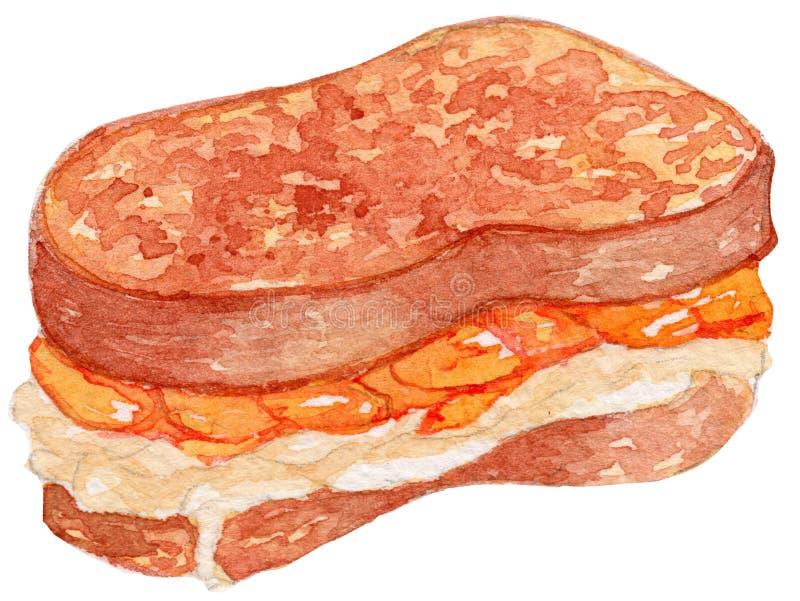 Ejemplo de la acuarela de la tostada francesa fotografía de archivo