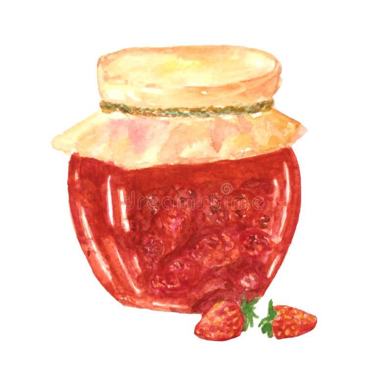 Ejemplo de la acuarela de un banco de la mermelada de fresa ilustración del vector