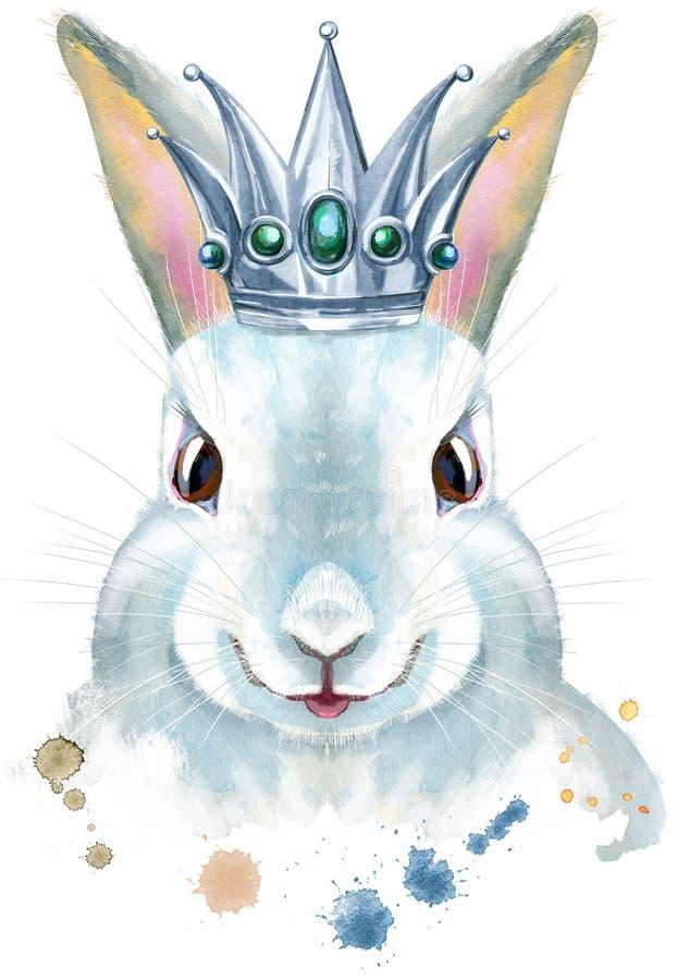 Ejemplo de la acuarela de un conejo blanco con la corona de plata ilustración del vector