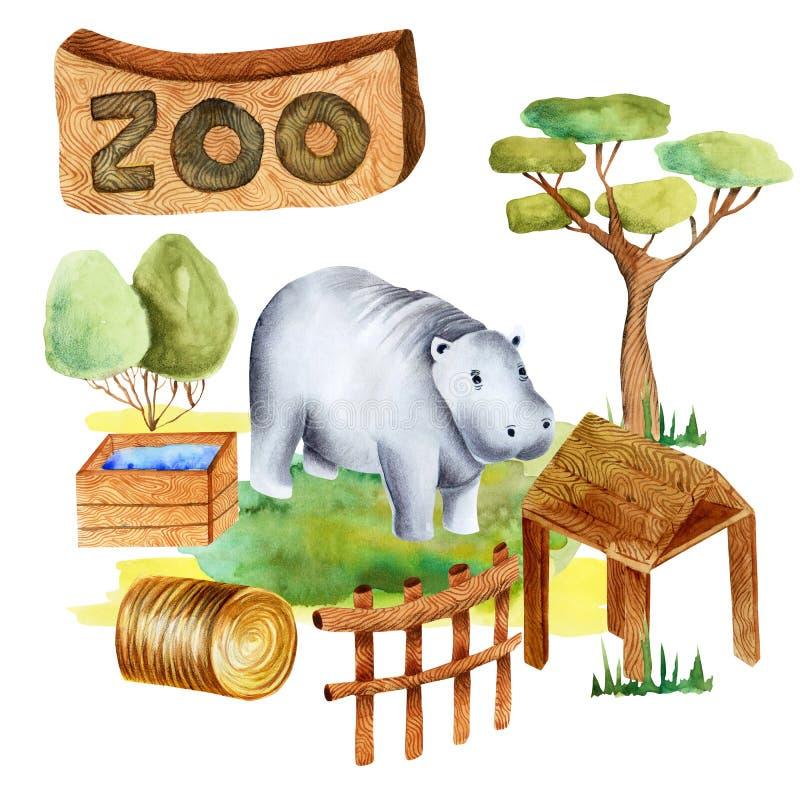 Ejemplo de la acuarela de un hipopótamo en el parque zoológico