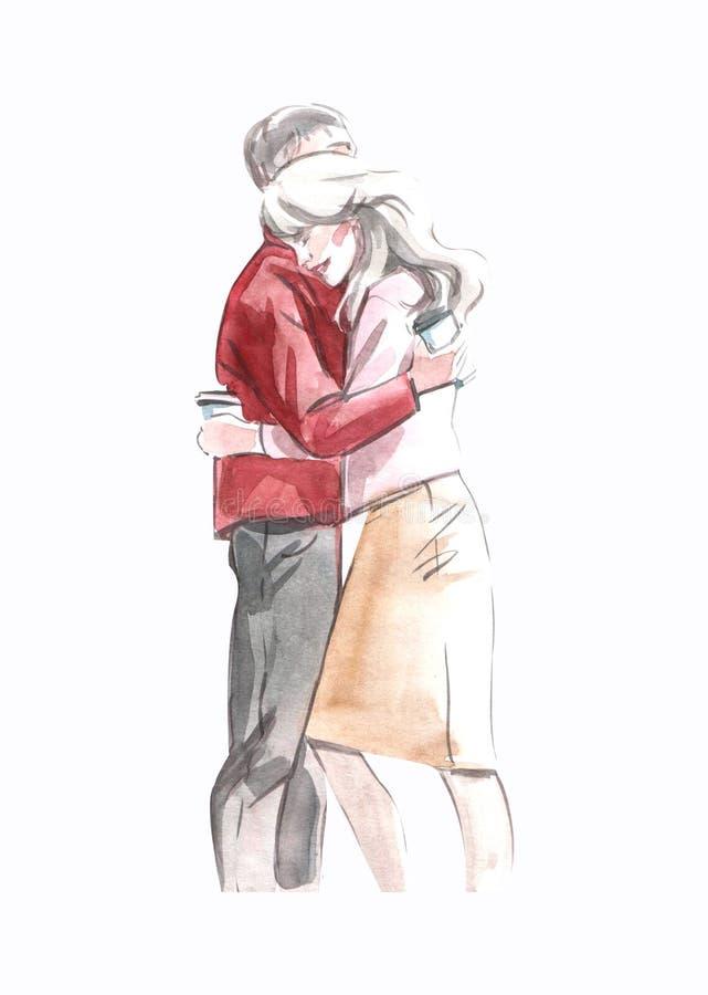 Ejemplo de la acuarela de un par de los amantes que abraza sosteniendo el café en las tazas de papel aisladas en el fondo blanco stock de ilustración