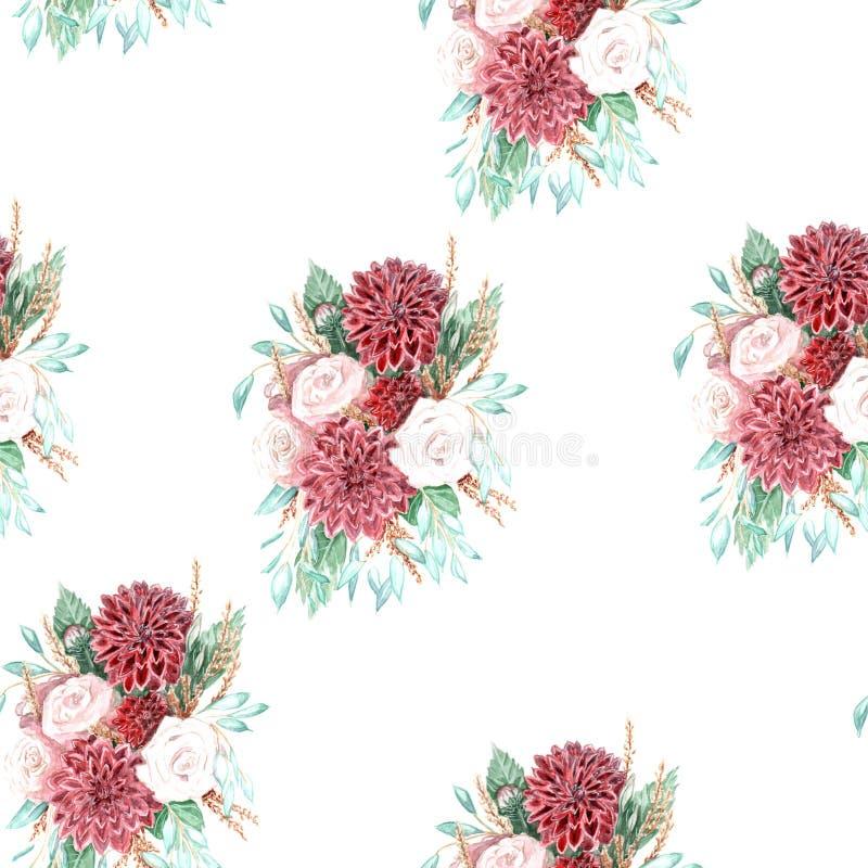 Ejemplo de la acuarela de un ramo de flores stock de ilustración