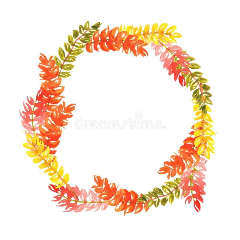 Ejemplo de la acuarela de una guirnalda de las ramitas de hojas amarillo-naranja verdes Marco redondo del oto?o imagen de archivo libre de regalías