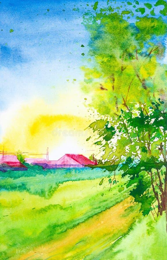 Ejemplo de la acuarela de una puesta del sol hermosa en un pueblo ruso rodeado por los árboles libre illustration