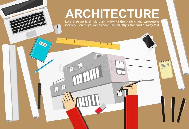 Ejemplo de la arquitectura Concepto de la configuración Conceptos planos del ejemplo del diseño para trabajar, tarea, construcció libre illustration