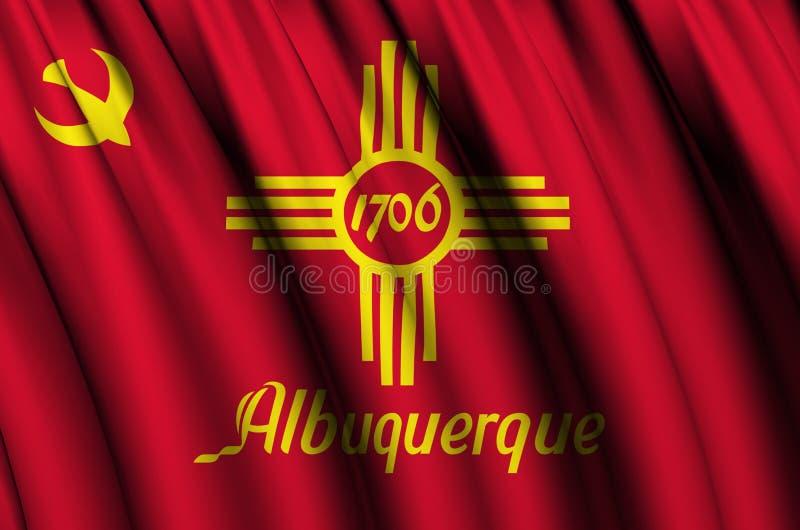 Ejemplo de la bandera de Albuquerque que agita New México stock de ilustración