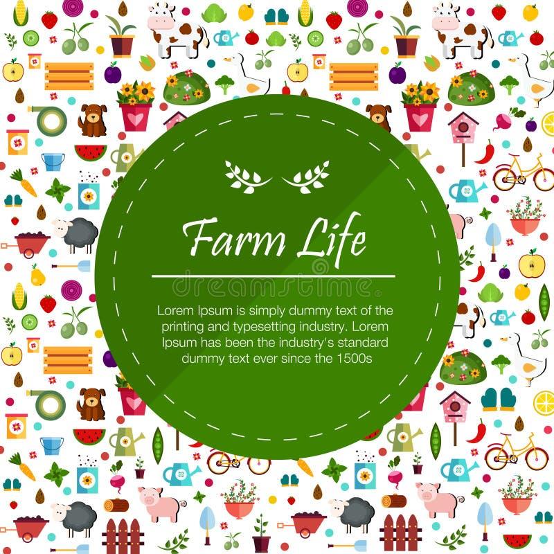 Ejemplo de la bandera de las verduras y de las frutas ilustración del vector