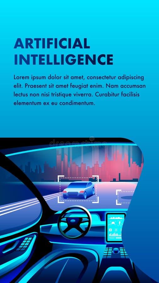 Ejemplo de la bandera del coche de la inteligencia artificial stock de ilustración