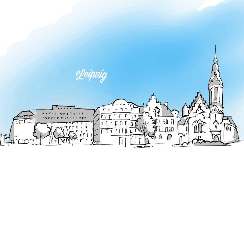 Ejemplo de la bandera del esquema del panorama de Leipzig libre illustration