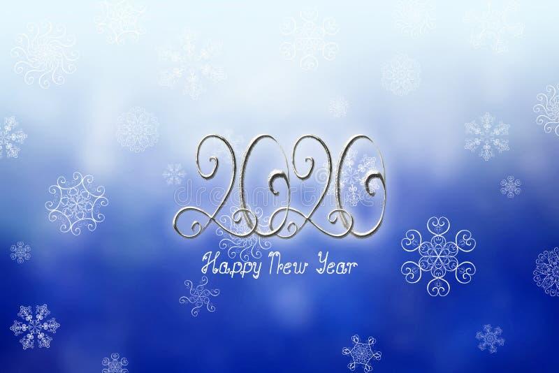 Ejemplo de la bandera de la Feliz Año Nuevo 2020 con los números y las letras de plata stock de ilustración