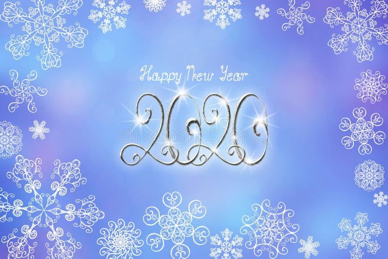 Ejemplo de la bandera de la Feliz Año Nuevo 2020 con los números y las letras de plata ilustración del vector