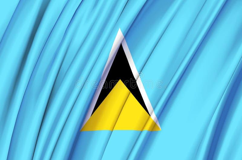 Ejemplo de la bandera de la Santa Lucía que agita ilustración del vector