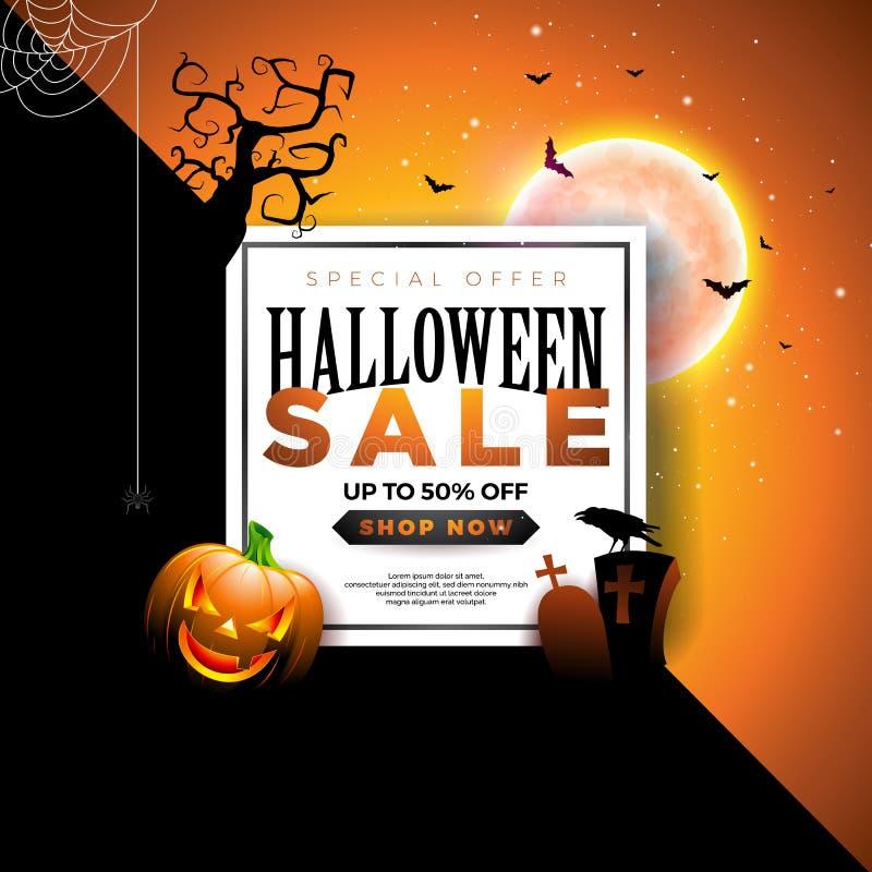Ejemplo de la bandera de la venta de Halloween con la calabaza, la luna, el cementerio y los palos que vuelan en fondo colorido a libre illustration