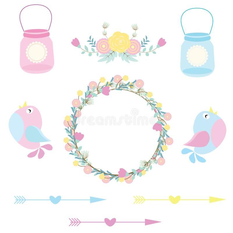 Ejemplo de la boda con los pájaros, las flores lindas y las botellas convenientes para casarse el sistema y el clip art de la eti stock de ilustración