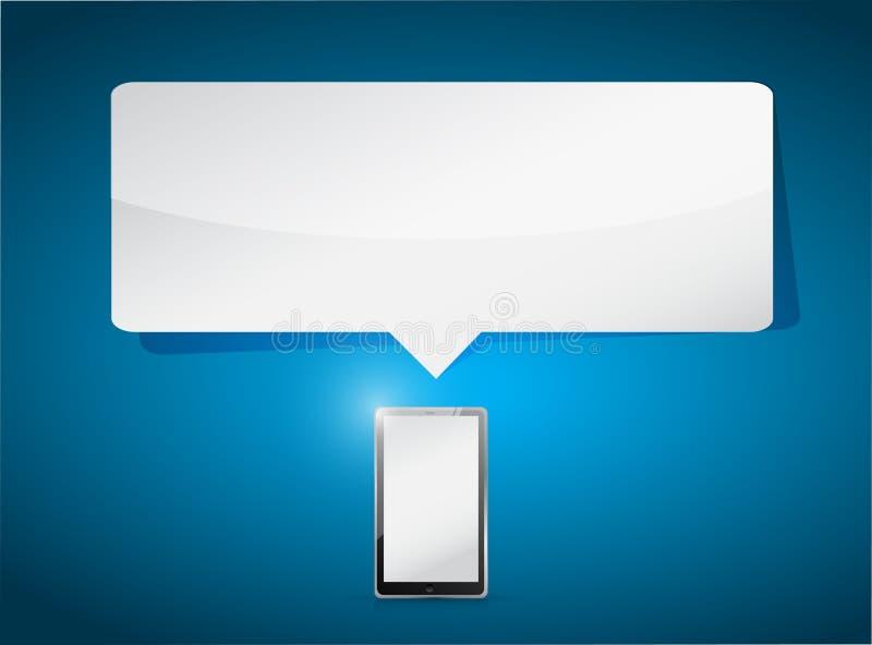 Ejemplo de la burbuja del mensaje del espacio de la tableta y de la copia stock de ilustración