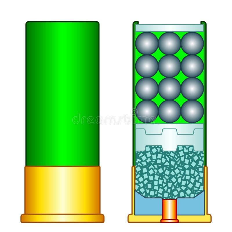 Ejemplo de la cáscara de escopeta ilustración del vector