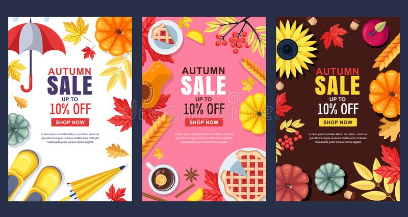 Ejemplo de la caída Bandera o cartel de la venta del vector Capítulos, fondos con la cosecha del otoño, accesorios y hojas stock de ilustración