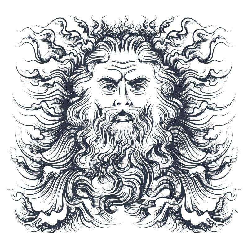Ejemplo de la cabeza de Neptuno libre illustration