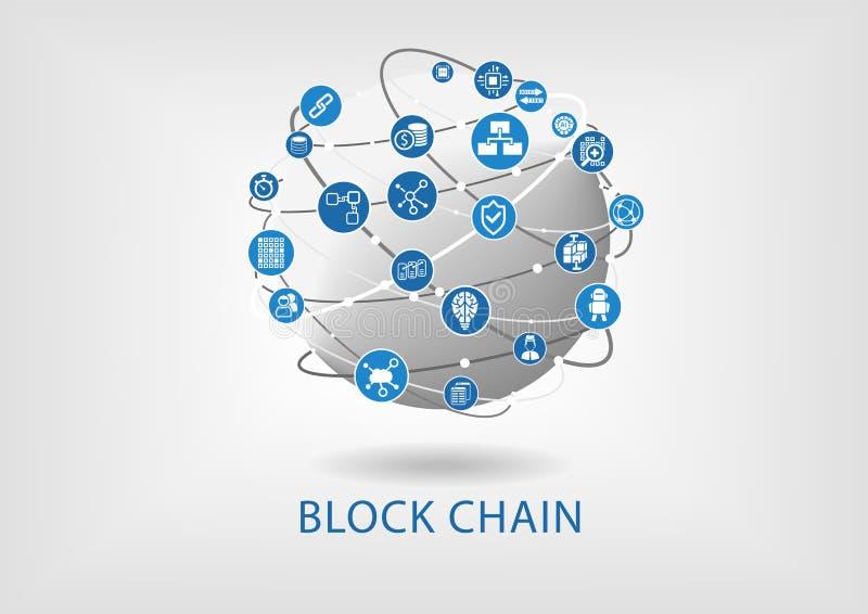 Ejemplo de la cadena de bloque con el globo conectado en fondo gris claro stock de ilustración