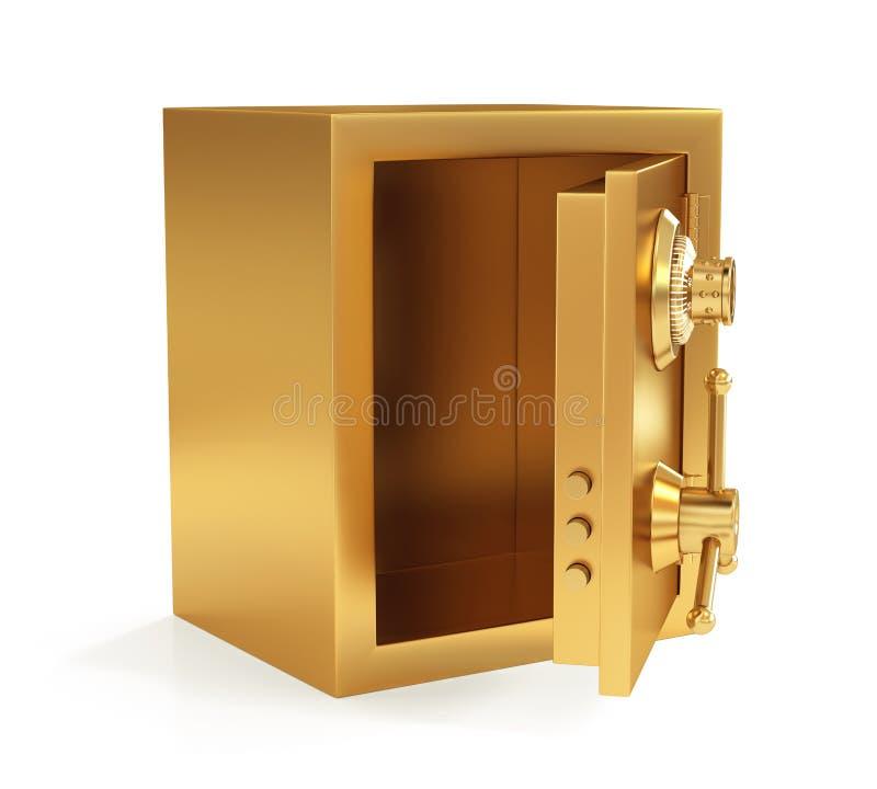 Ejemplo de la caja fuerte cerrada de oro aislada en el fondo blanco ilustración del vector