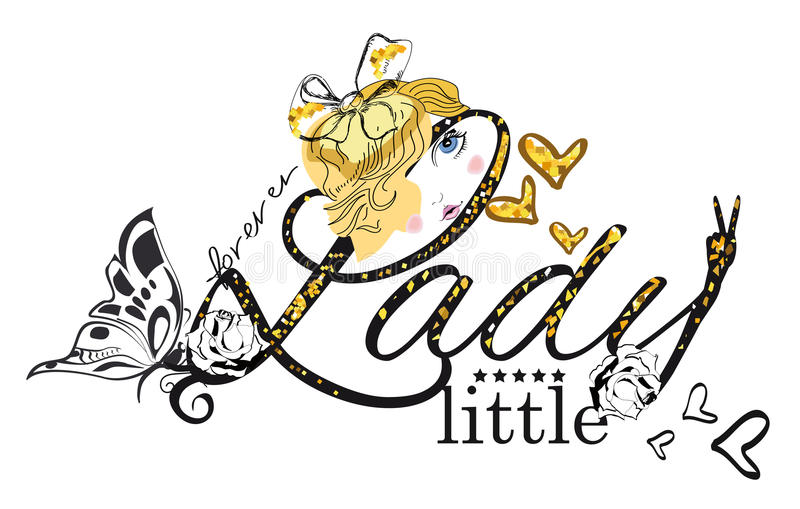Ejemplo de la camiseta del vector del lema para la pequeña señora ilustración del vector