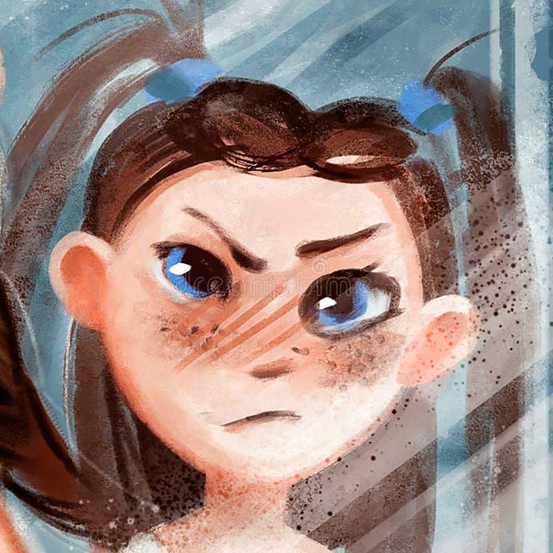 Ejemplo de la cara malvada de la muchacha ilustración del vector